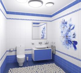 Пластиковые панели Панда, коллекция Синий цветок